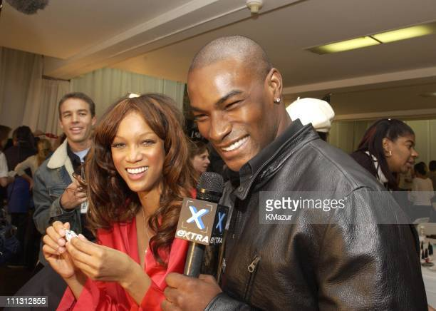Tyson Beckford interviewing Tyra banks backstage in the hair and makeup room