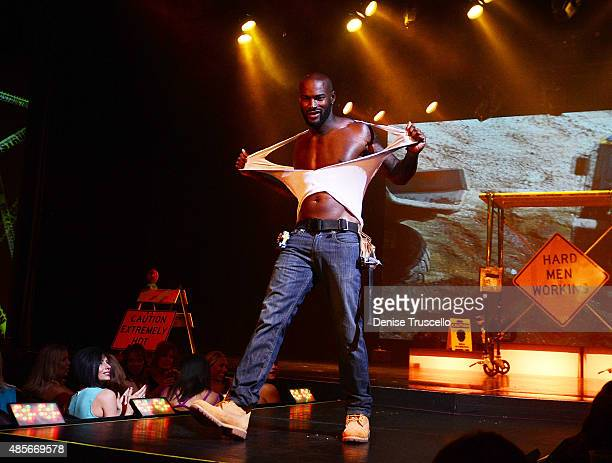 Tyson Beckford performs during his opening night with Chippendales at Rio AllSuite Hotel Casino on August 28 2015 in Las Vegas Nevada