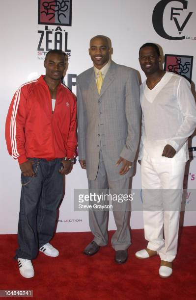 Tyson Beckford Vince Carter Brian McKnight during 'Light As A Feather' Fashion Show Uniting Fashion And Music On The West Coast at The Los Angeles...
