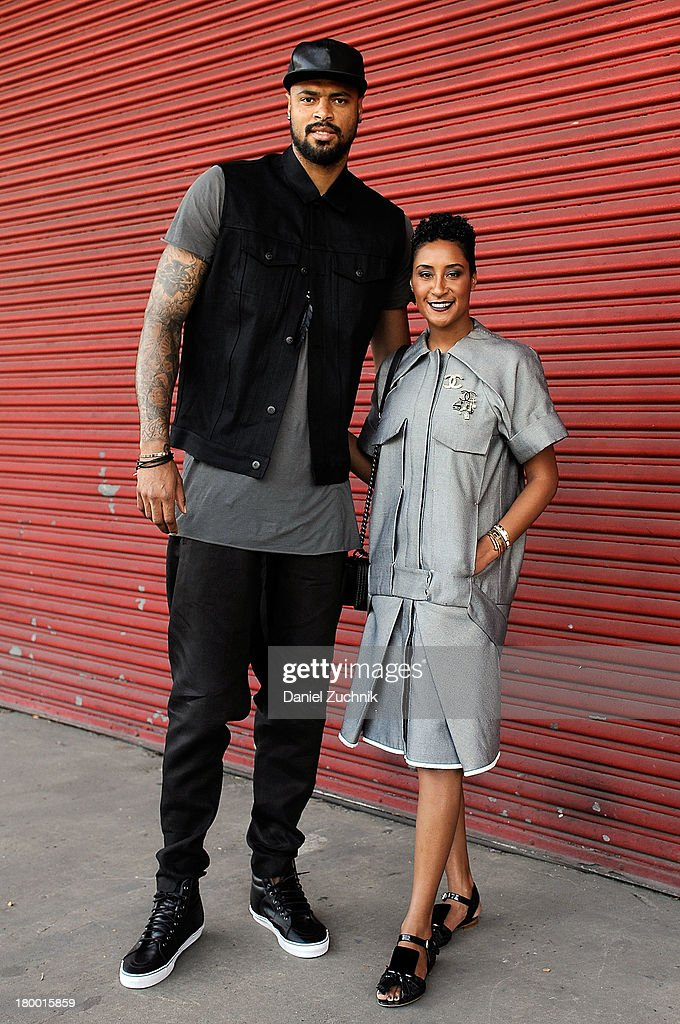 <a gi-track='captionPersonalityLinkClicked' href=/galleries/search?phrase=Tyson+Chandler&family=editorial&specificpeople=202061 ng-click='$event.stopPropagation()'>Tyson Chandler</a> and Kimberly Chandler are seen outside the Alexander Wang show on September 7, 2013 in New York City.