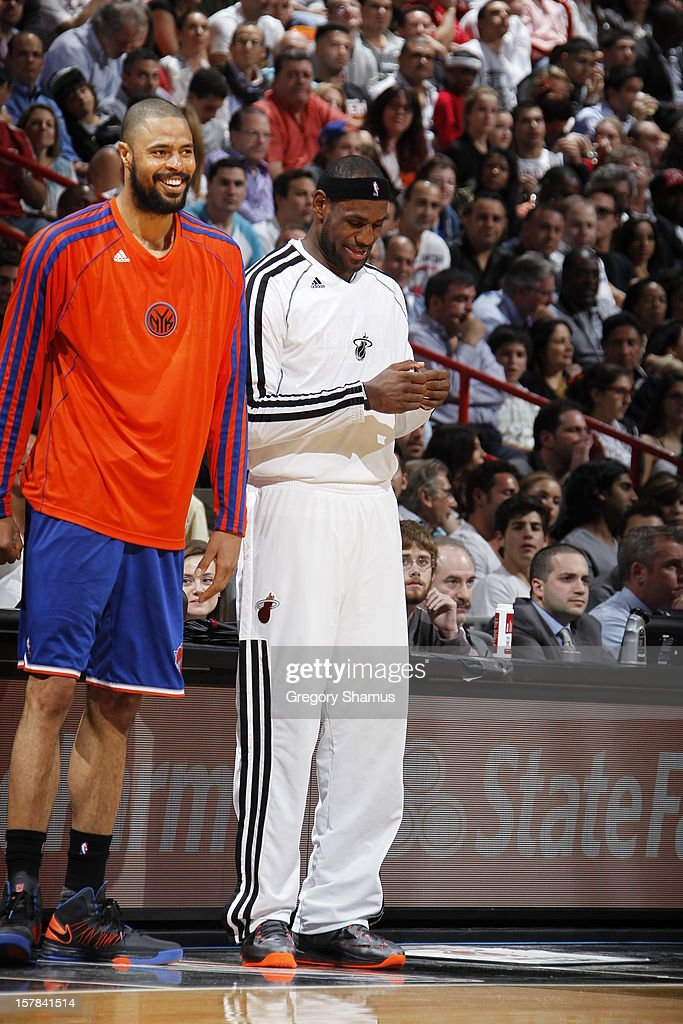 <a gi-track='captionPersonalityLinkClicked' href=/galleries/search?phrase=Tyson+Chandler&family=editorial&specificpeople=202061 ng-click='$event.stopPropagation()'>Tyson Chandler</a> #6 and <a gi-track='captionPersonalityLinkClicked' href=/galleries/search?phrase=LeBron+James&family=editorial&specificpeople=201474 ng-click='$event.stopPropagation()'>LeBron James</a> #6 smile while there is a break in play during a game on December 6, 2012 at American Airlines Arena in Miami, Florida.