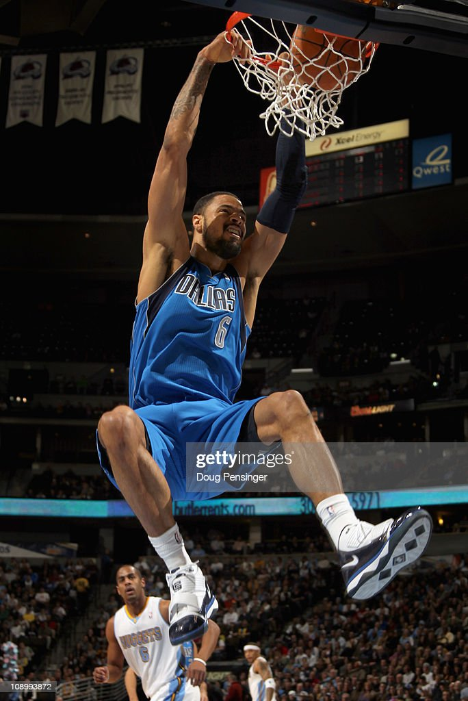 Tyson Chandler of the Dallas Mavericks dunks the ball against the Denver Nuggets during NBA action at the Pepsi Center on February 10 2011 in Denver...