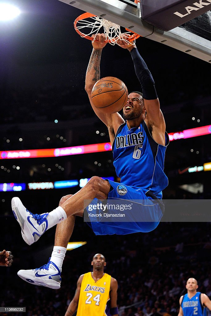 <a gi-track='captionPersonalityLinkClicked' href=/galleries/search?phrase=Tyson+Chandler&family=editorial&specificpeople=202061 ng-click='$event.stopPropagation()'>Tyson Chandler</a> #6 of the Dallas Mavericks dunks the ball in the first quarter while taking on the Los Angeles Lakers in Game Two of the Western Conference Semifinals in the 2011 NBA Playoffs at Staples Center on May 4, 2011 in Los Angeles, California.