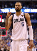 Tyson Chandler of the Dallas Mavericks reacts after the Mavericks defeated the Miami Heat 112103 in Game Five of the 2011 NBA Finals at American...