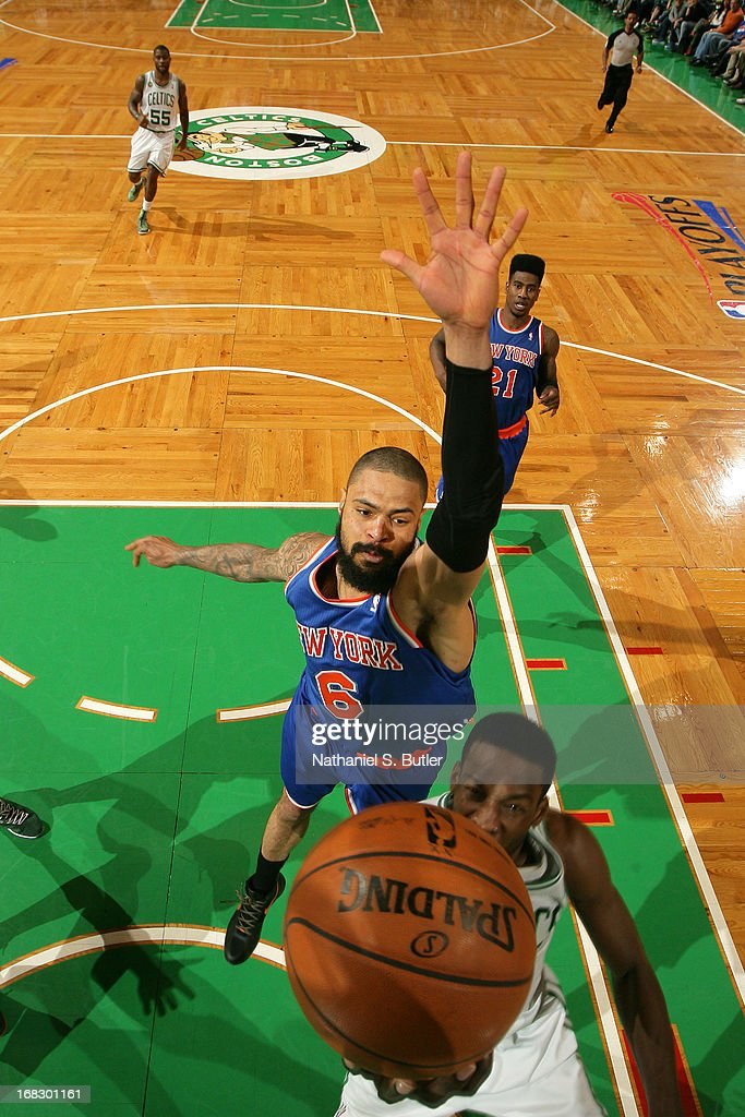 Tyson Chandler #6 of the New York Knicks attemts to block a shot against the Boston Celtics in Game Four of the Eastern Conference Quarterfinals during the 2013 NBA Playoffs on April 28, 2013 at the TD Garden in Boston.