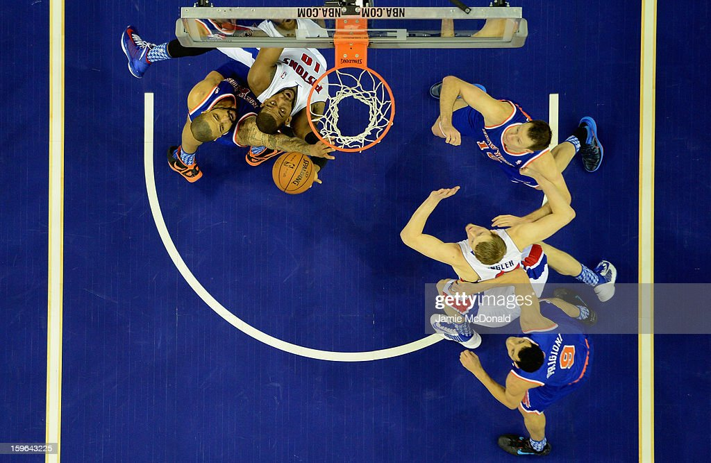 Tyson Chandler of the New York Knicks battles with Greg Monroe of Detroit Pistons during the NBA London Live 2013 game between New York Knicks and the Detroit Pistons at the O2 Arena on January 17, 2013 in London, England.