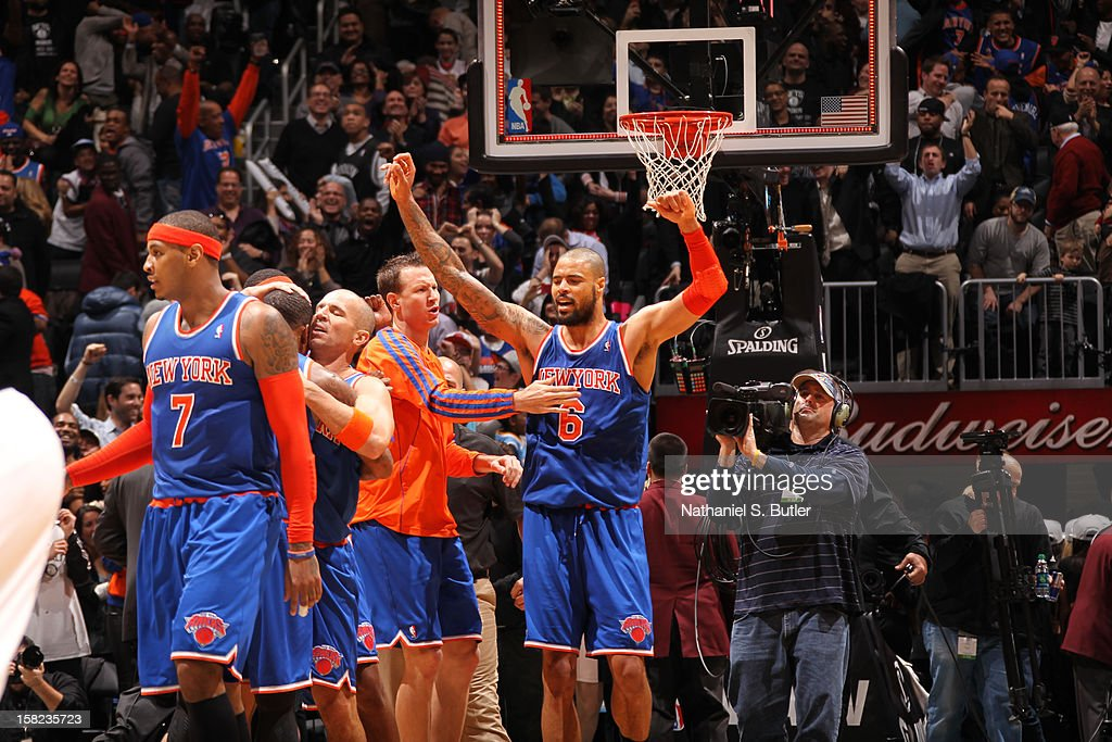 Tyson Chandler #6 of the New York Knicks celebrates a win against the Brooklyn Nets on December 11, 2012 at the Barclays Center in the Brooklyn borough of New York City.