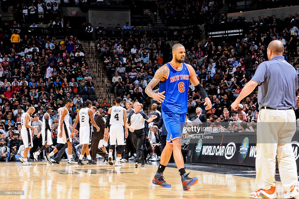 Tyson Chandler #6 of the New York Knicks celebrates during a timeout in the fourth quarter against the San Antonio Spurs on November 15, 2012 at the AT&T Center in San Antonio, Texas.