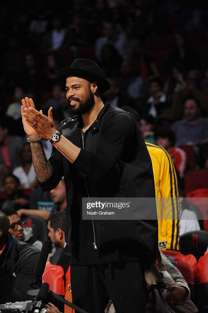 Tyson Chandler #6 of the New York Knicks cheers during 2013 Foot Locker Three-Point Contest on State Farm All-Star Saturday Night as part of 2013 NBA All-Star Weekend on February 16, 2013 at Toyota Center in Houston, Texas.