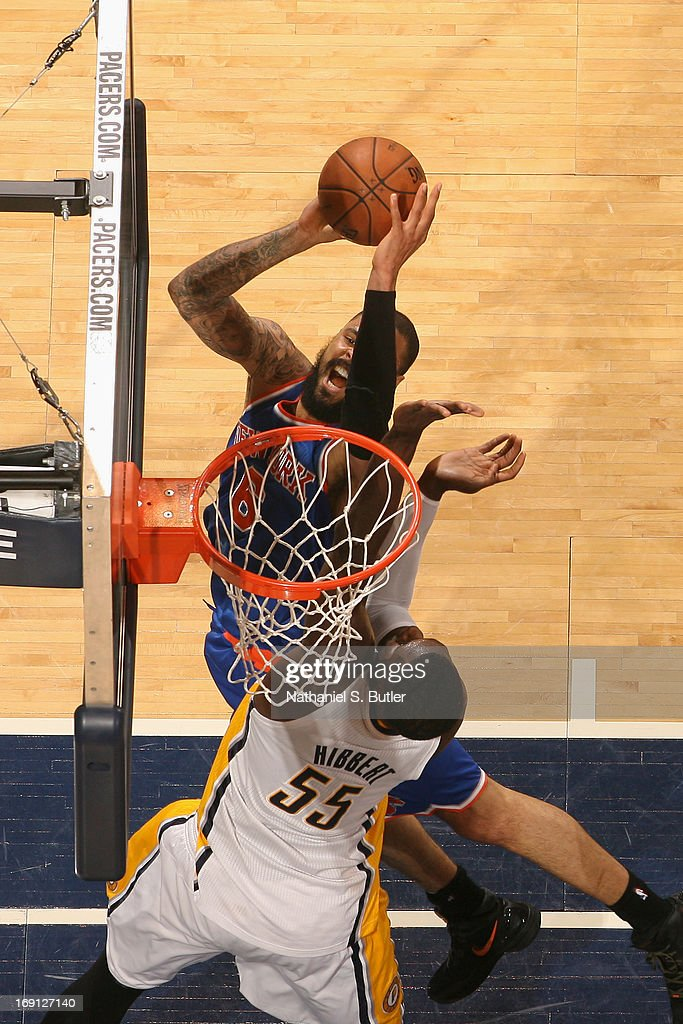 <a gi-track='captionPersonalityLinkClicked' href=/galleries/search?phrase=Tyson+Chandler&family=editorial&specificpeople=202061 ng-click='$event.stopPropagation()'>Tyson Chandler</a> #6 of the New York Knicks drives to the basket against the Indiana Pacers in Game Four of the Eastern Conference Semifinals during the 2013 NBA Playoffs on May 14, 2013 at Bankers Life Fieldhouse in Indianapolis.