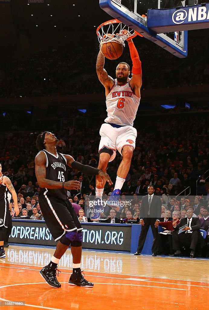 Tyson Chandler #6 of the New York Knicks dunks against Gerald Wallace #45 of the Brooklyn Nets during their game at Madison Square Garden on December 19, 2012 in New York City.