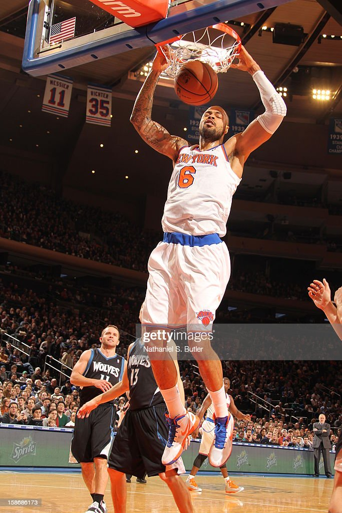 Tyson Chandler #6 of the New York Knicks dunks against in a game played against the Minnesota Timberwolves on December 23, 2012 at Madison Square Garden in New York City.