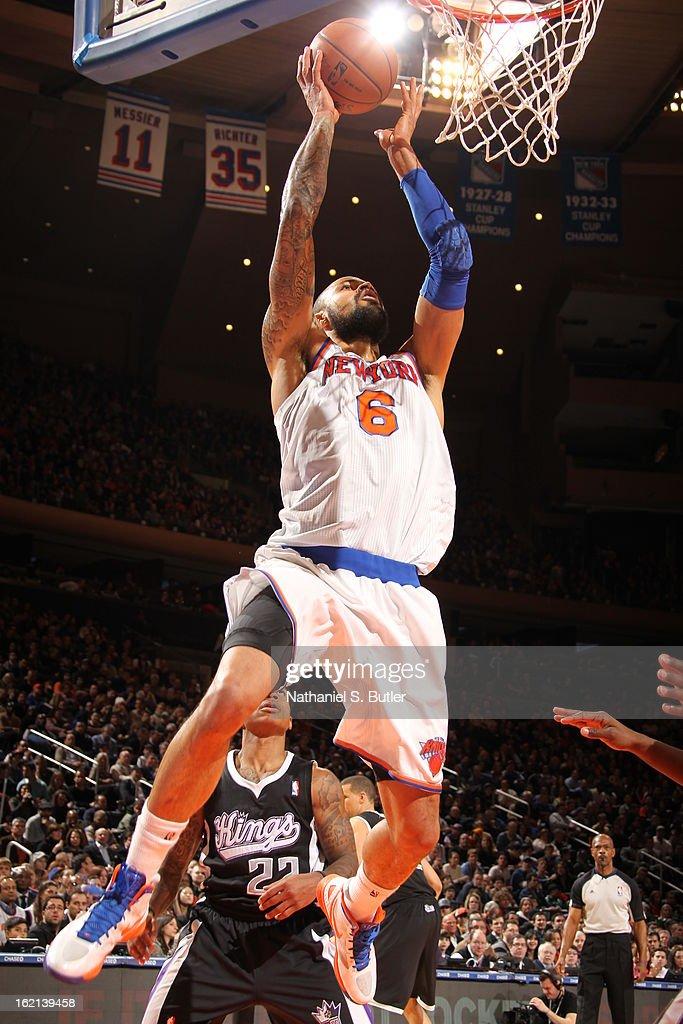 Tyson Chandler #6 of the New York Knicks dunks the ball against the Sacramento Kings on February 2, 2013 at Madison Square Garden in New York City.