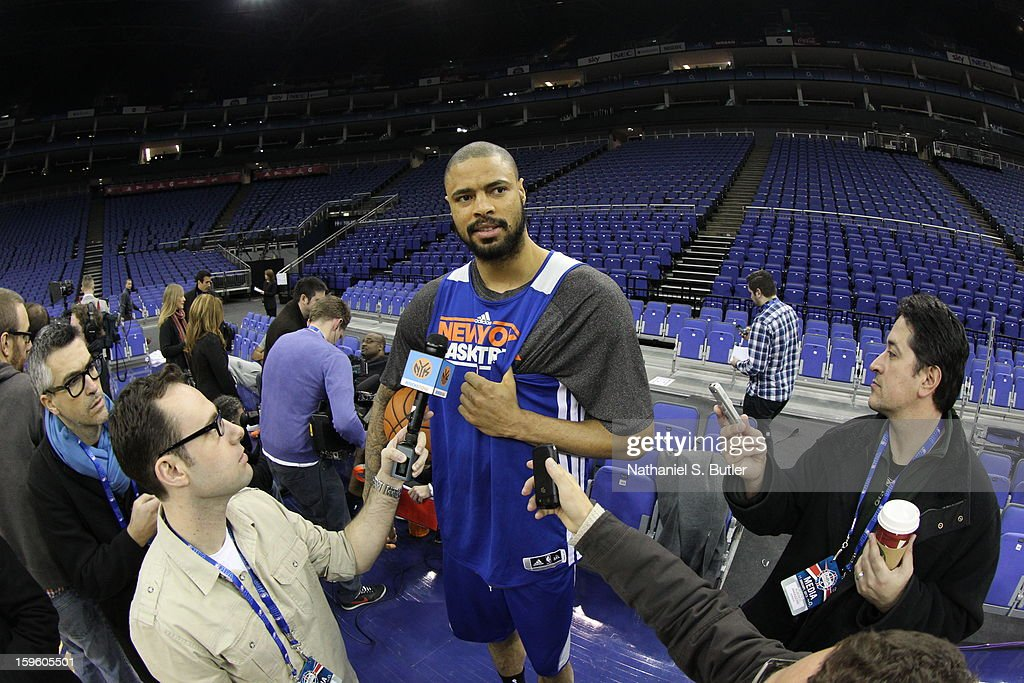 <a gi-track='captionPersonalityLinkClicked' href=/galleries/search?phrase=Tyson+Chandler&family=editorial&specificpeople=202061 ng-click='$event.stopPropagation()'>Tyson Chandler</a> #6 of the New York Knicks during meets with members of the media before practice at the 02 Arena on January 17, 2013 in London, England.