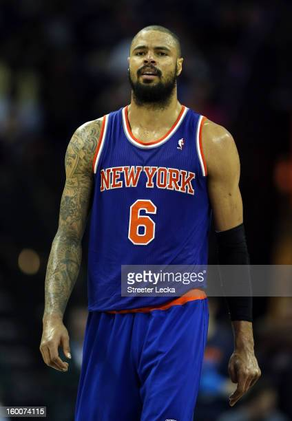 Tyson Chandler of the New York Knicks during their game at Time Warner Cable Arena on December 5 2012 in Charlotte North Carolina NOTE TO USER User...