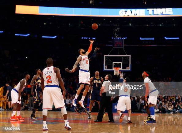 Tyson Chandler of the New York Knicks faces off against Roy Hibbert of the Indiana Pacers to start Game Five of the Eastern Conference Semifinals of...