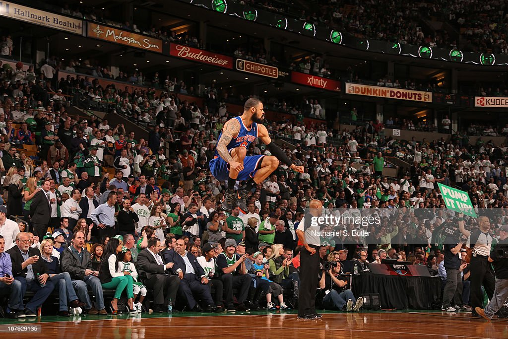 <a gi-track='captionPersonalityLinkClicked' href=/galleries/search?phrase=Tyson+Chandler&family=editorial&specificpeople=202061 ng-click='$event.stopPropagation()'>Tyson Chandler</a> #6 of the New York Knicks gets warmed up before the game against the Boston Celtics in Game Three of the Eastern Conference Quarterfinals during the 2013 NBA Playoffs on April 26, 2013 at the TD Garden in Boston.