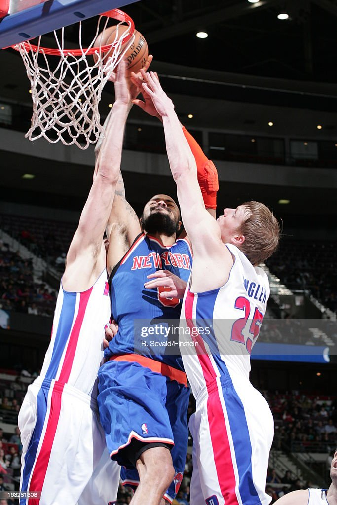 Tyson Chandler #6 of the New York Knicks goes to the basket against double defense during the game between the Detroit Pistons and the Atlanta Hawks on March 6, 2013 at The Palace of Auburn Hills in Auburn Hills, Michigan.