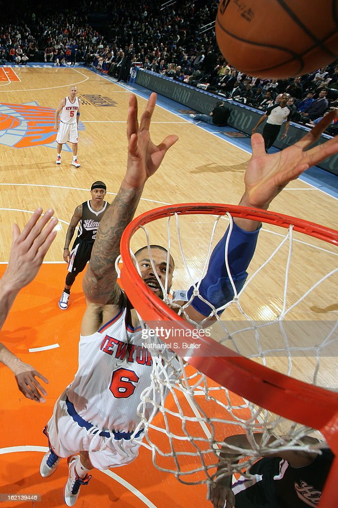 Tyson Chandler #6 of the New York Knicks goes up for a rebound against the Sacramento Kings on February 2, 2013 at Madison Square Garden in New York City.