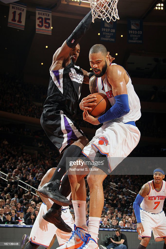 Tyson Chandler #6 of the New York Knicks grabs a rebound against the Sacramento Kings on February 2, 2013 at Madison Square Garden in New York City.