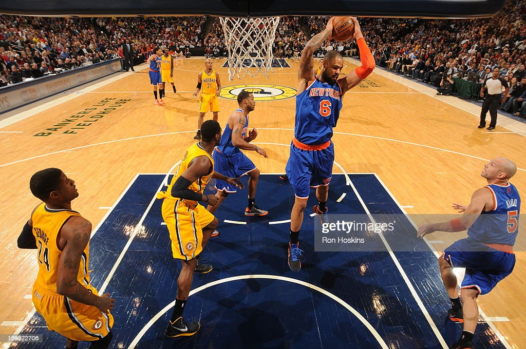 Tyson Chandler #6 of the New York Knicks grabs a rebound in traffic against the Indiana Pacers on January 10, 2013 at Bankers Life Fieldhouse in Indianapolis, Indiana.