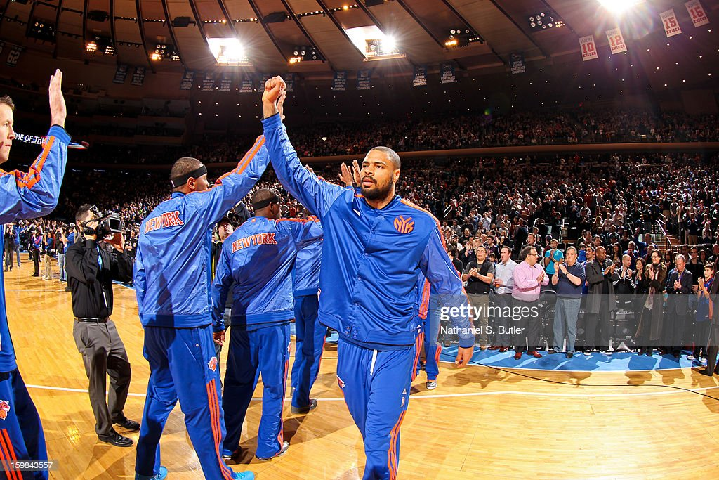 Tyson Chandler #6 of the New York Knicks greets teammates before playing against the Brooklyn Nets on January 21, 2013 at Madison Square Garden in New York City.