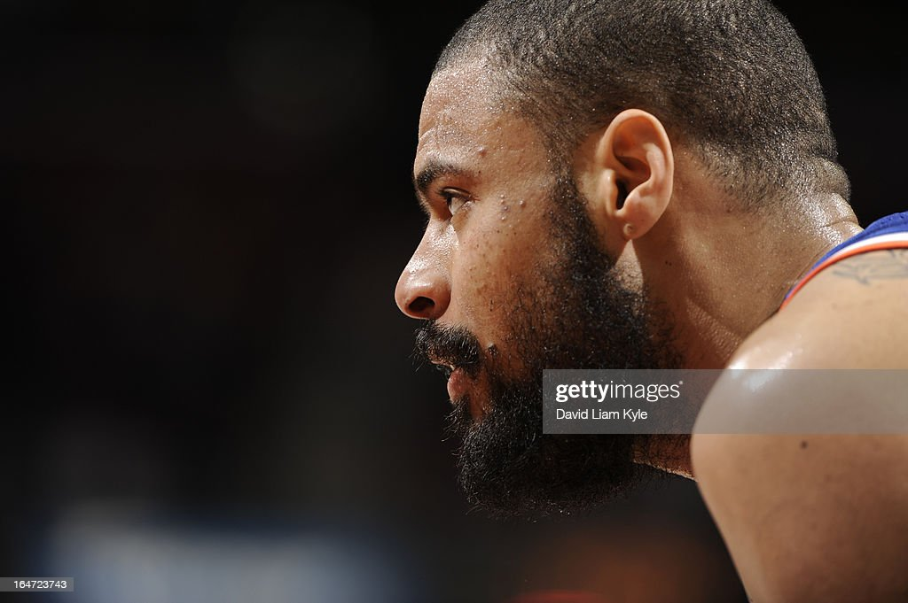 Tyson Chandler #6 of the New York Knicks looks on against the Cleveland Cavaliers at The Quicken Loans Arena on March 4, 2013 in Cleveland, Ohio.