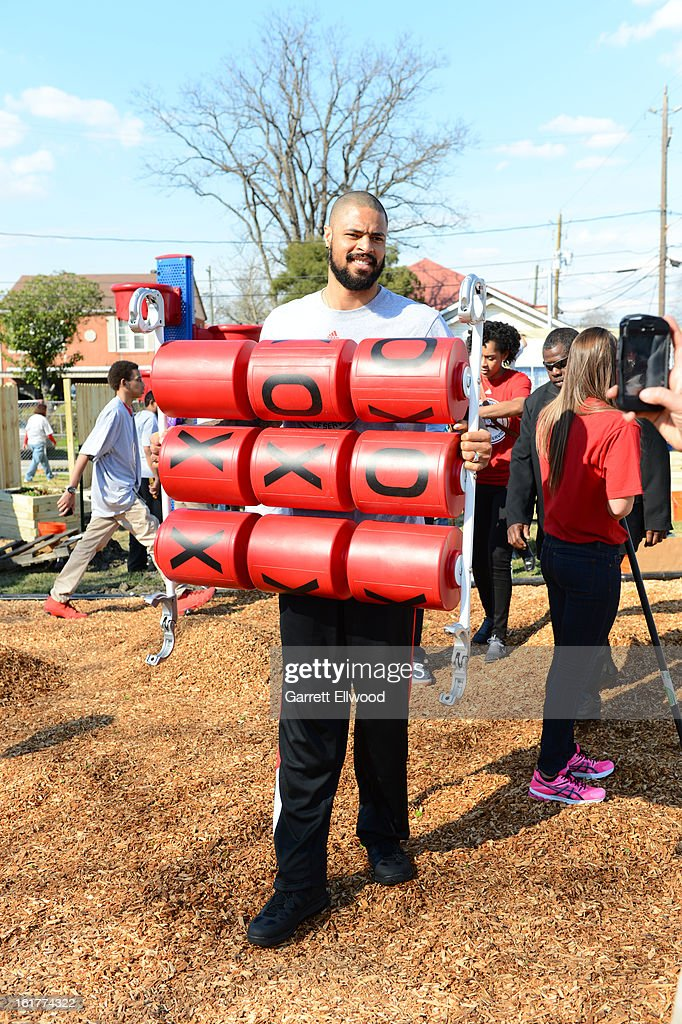 Tyson Chandler #6 of the New York Knicks participates at the 2013 NBA Cares Day of Service at the Playground Build with KaBOOM! on February 15, 2013 in Houston, Texas.