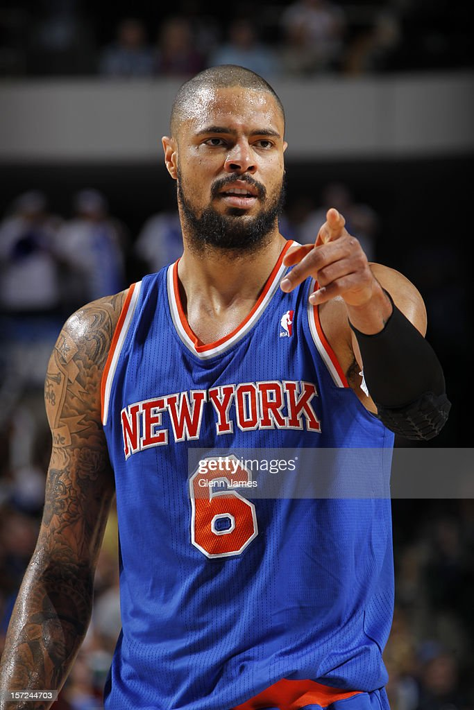 <a gi-track='captionPersonalityLinkClicked' href=/galleries/search?phrase=Tyson+Chandler&family=editorial&specificpeople=202061 ng-click='$event.stopPropagation()'>Tyson Chandler</a> #6 of the New York Knicks pointing during the game against the Dallas Mavericks on November 21, 2012 at the American Airlines Center in Dallas, Texas.