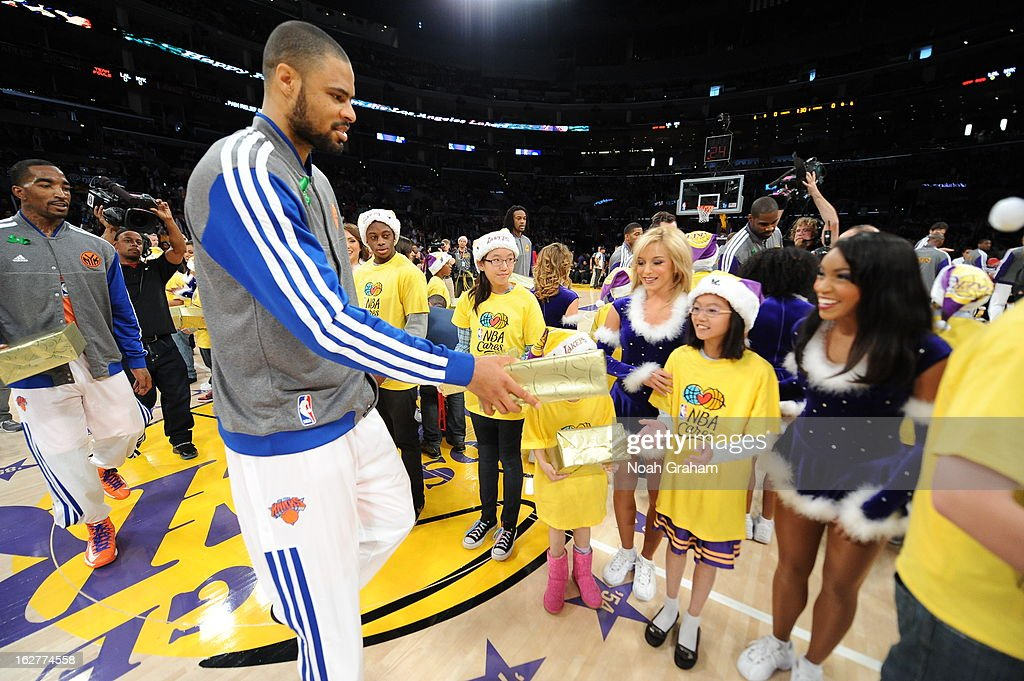 Tyson Chandler #6 of the New York Knicks runs out before the game against the Los Angeles Lakers at Staples Center on December 25, 2012 in Los Angeles, California.
