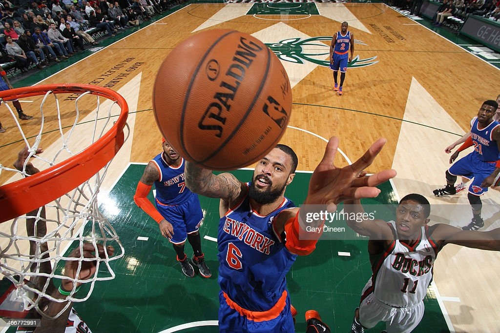 Tyson Chandler #6 of the New York Knicks shoots against Brandon Knight #11 of the Milwaukee Bucks on February 3, 2014 at the BMO Harris Bradley Center in Milwaukee, Wisconsin.