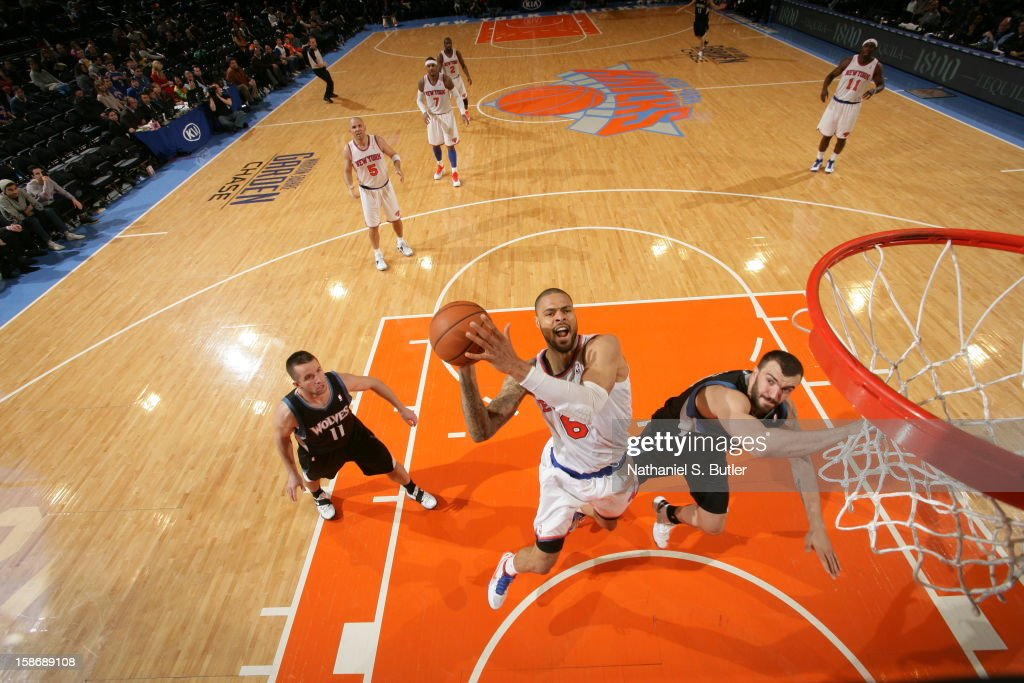 <a gi-track='captionPersonalityLinkClicked' href=/galleries/search?phrase=Tyson+Chandler&family=editorial&specificpeople=202061 ng-click='$event.stopPropagation()'>Tyson Chandler</a> #6 of the New York Knicks shoots against <a gi-track='captionPersonalityLinkClicked' href=/galleries/search?phrase=Nikola+Pekovic&family=editorial&specificpeople=829137 ng-click='$event.stopPropagation()'>Nikola Pekovic</a> #14 of the Minnesota Timberwolves on December 23, 2012 at Madison Square Garden in New York City.