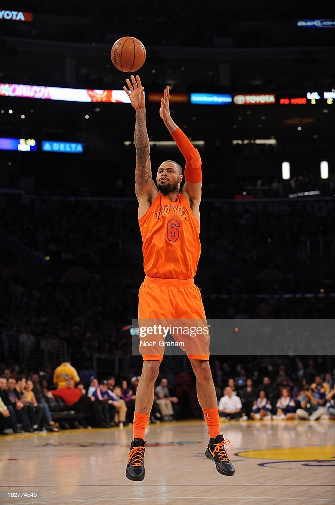 <a gi-track='captionPersonalityLinkClicked' href=/galleries/search?phrase=Tyson+Chandler&family=editorial&specificpeople=202061 ng-click='$event.stopPropagation()'>Tyson Chandler</a> #6 of the New York Knicks takes a shot against the Los Angeles Lakers at Staples Center on December 25, 2012 in Los Angeles, California.
