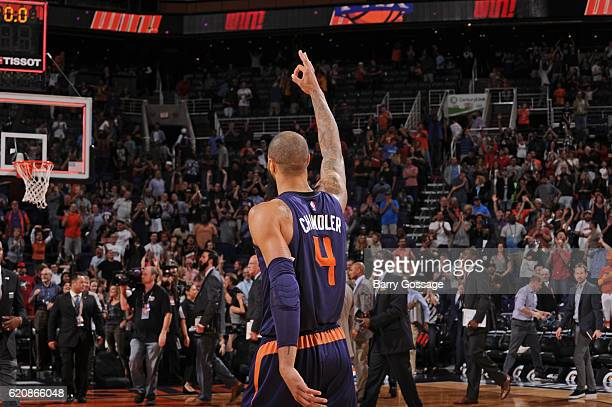 Tyson Chandler of the Phoenix Suns celebrates the game winning three point basket in overtime against the Portland Trail Blazers on November 2 2016...