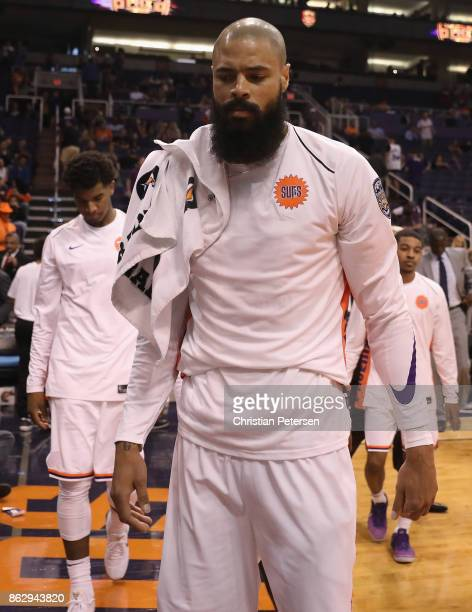 Tyson Chandler of the Phoenix Suns reacts as he walks off the court following the NBA game against the Portland Trail Blazers at Talking Stick Resort...