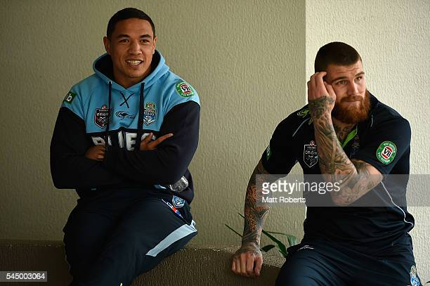 Tyson Frizell and Josh Dugan of the Blues before a New South Wales Blues State of Origin media opportunity at Novotel Coffs Harbour on July 5 2016 in...