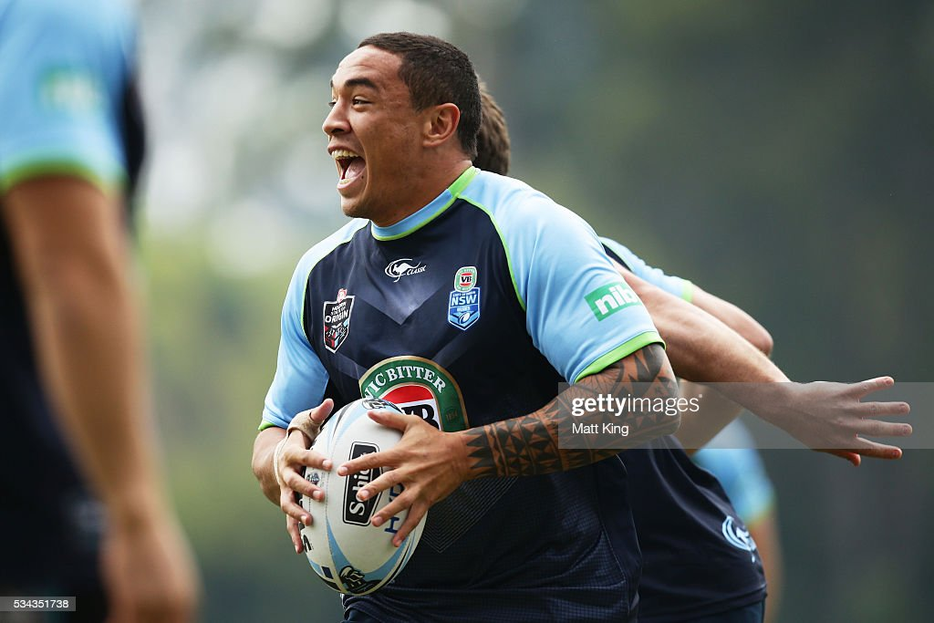 Tyson Frizell of the Blues runs with the ball during a New South Wales State of Origin media opportunity on May 26, 2016 in Coffs Harbour, Australia.