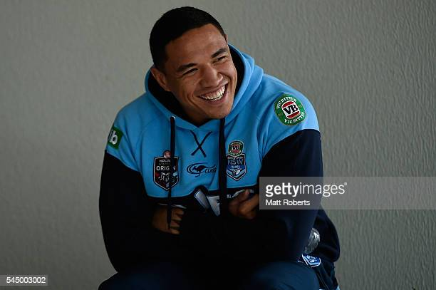 Tyson Frizell of the Blues shares a laugh with media before a New South Wales Blues State of Origin media opportunity at Novotel Coffs Harbour on...