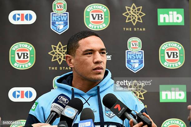 Tyson Frizell of the Blues speaks to media during a New South Wales Blues State of Origin media opportunity at Novotel Coffs Harbour on July 5 2016...