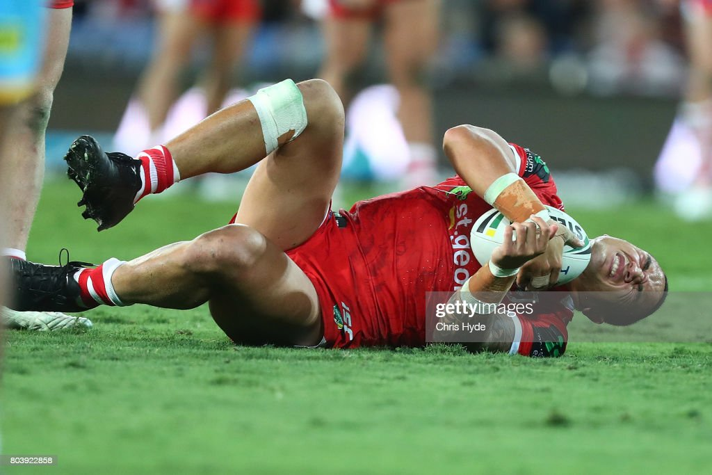 Tyson Frizell of the Dragons after being injured during the round 17 NRL match between the Gold Coast Titans and the St George Illawarra Dragons at Cbus Super Stadium on June 30, 2017 in Gold Coast, Australia.