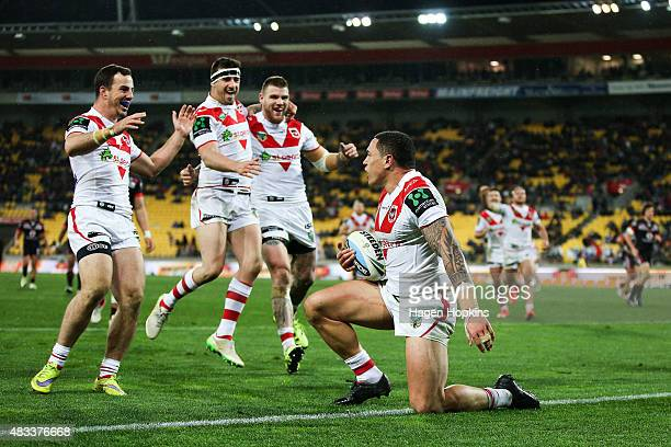 Tyson Frizell of the Dragons celebrates after scoring a try during the round 22 NRL match between the New Zealand Warriors and the St George...