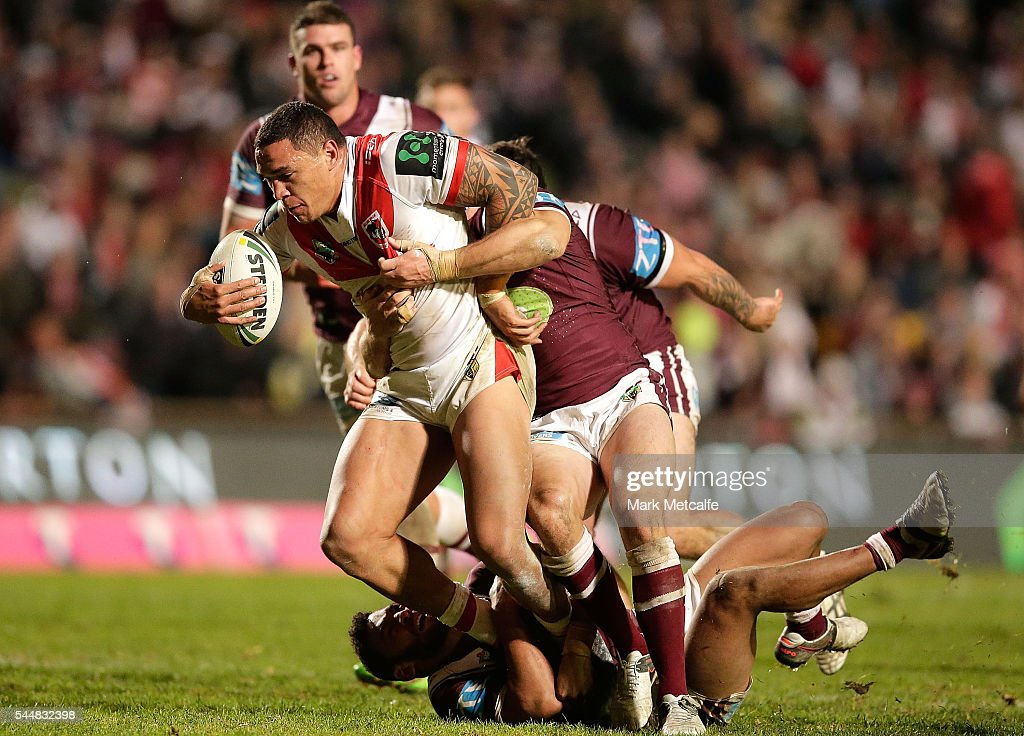Tyson Frizell of the Dragons is tackled during the round 17 NRL match between the Manly Sea Eagles and the St George Illawarra Dragons at Brookvale Oval on July 4, 2016 in Sydney, Australia.