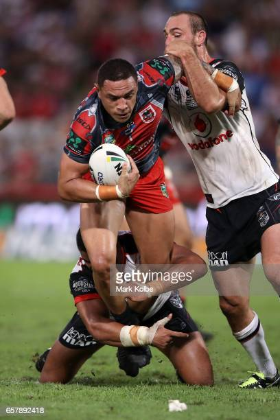 Tyson Frizell of the Dragons is tackled during the round four NRL match between the St George Illawarra Dragons and the New Zealand Warriors at UOW...