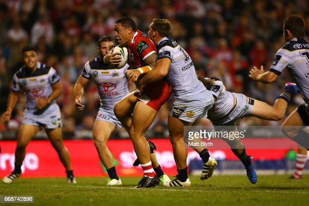 Tyson Frizell of the Dragons is tackled during the round seven NRL match between the St George Illawarra Dragons and the North Queensland Cowboys at...