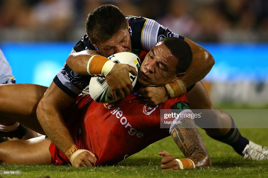 Tyson Frizell of the Dragons is tackled during the round seven NRL match between the St George Illawarra Dragons and the North Queensland Cowboys at WIN Stadium on April 15, 2017 in Wollongong, Australia.