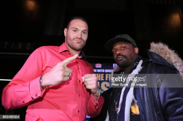 Tyson Fury and Dereck Chisora during the Head to Head at Manchester Printworks Manchester