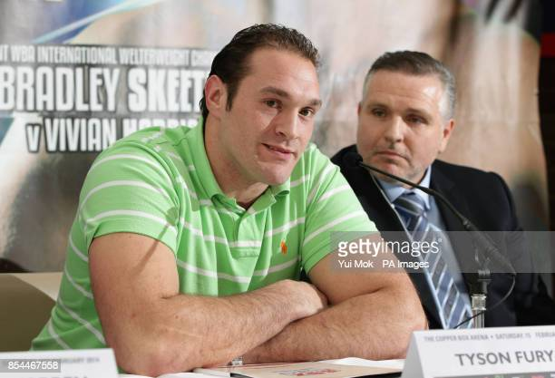 Tyson Fury and his uncle Peter Fury during the press conference at Fredericks Restaurant London