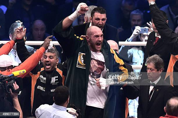 Tyson Fury celebrates after winning his fight against Wladimir Klitschko at EspritArena on November 28 2015 in Duesseldorf Germany