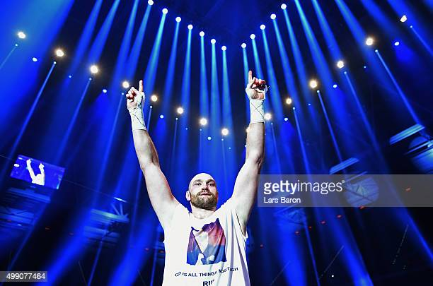Tyson Fury celebrates as he defeats Wladimir Klitschko to become new World Heavyweight Champion after the IBF IBO WBA WBO Heavyweight World...