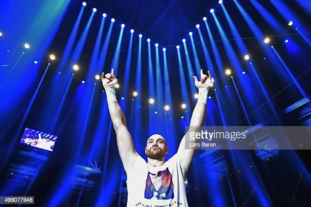 Tyson Fury celebrates as he defeats Wladimir Klitschko to become new World Heavyweight Champion after the IBF IBO WBA WBO Heavyweight World...
